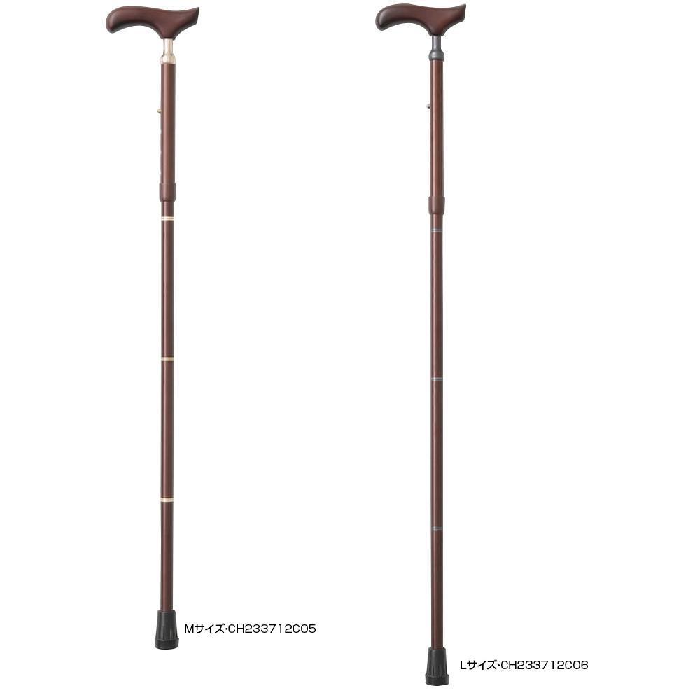KINDCARE 伸縮折りたたみ杖 PSステッキ スリムネック ブラウン Lサイズ・CH233712C06 【代引不可】【北海道・沖縄・離島配送不可】