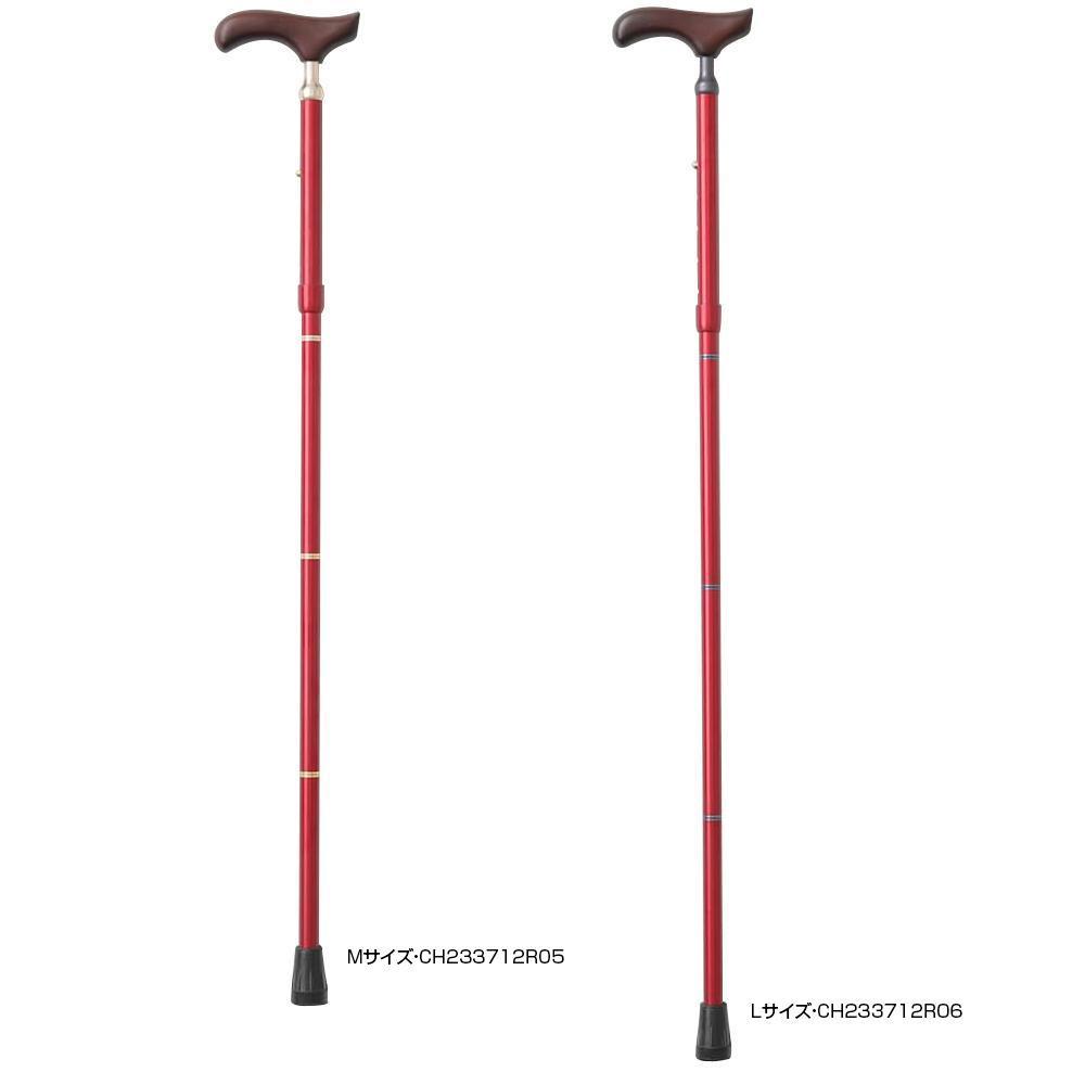 KINDCARE 伸縮折りたたみ杖 PSステッキ スリムネック レッド Lサイズ・CH233712R06 【代引不可】【北海道・沖縄・離島配送不可】