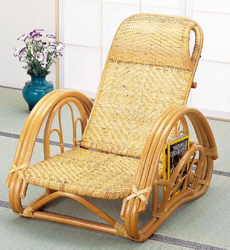 【送料無料】ラタン リクライニング座椅子ブラウン A112【代引不可】