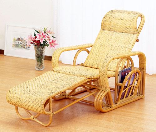 【送料無料】ラタン 三つ折寝椅子 A113【代引不可】