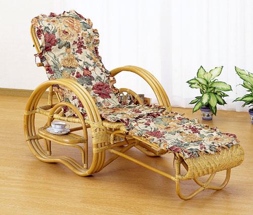 【送料無料】ラタン 三つ折寝椅子(ファブリックカバー付き)A200M【代引不可】