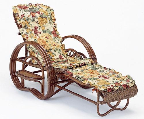 【送料無料】ラタン 三つ折寝椅子(ダークブラウン)ファブリックカバー付きA202BM【代引不可】