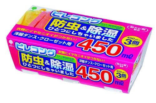 日本製 japan 紀陽除虫菊 ピレコング 防虫&除湿 450ml 3個パック〔まとめ買い12個セット〕 J-6007【防虫殺虫グッズ】【除湿グッズ】【代引不可】