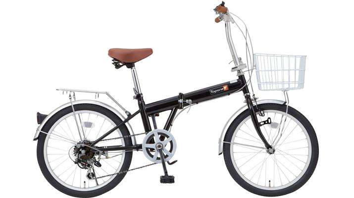 【送料無料】TOP ONE(トップワン) 20インチ 折りたたみ自転車 6段変速 ブラック KGK206LL-09-BK【代引不可】