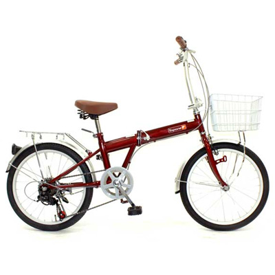 TOP ONE(トップワン) 20インチ 折りたたみ自転車 6段変速 レッド KGK206LL-34-RD【代引不可】【北海道・沖縄・離島配送不可】