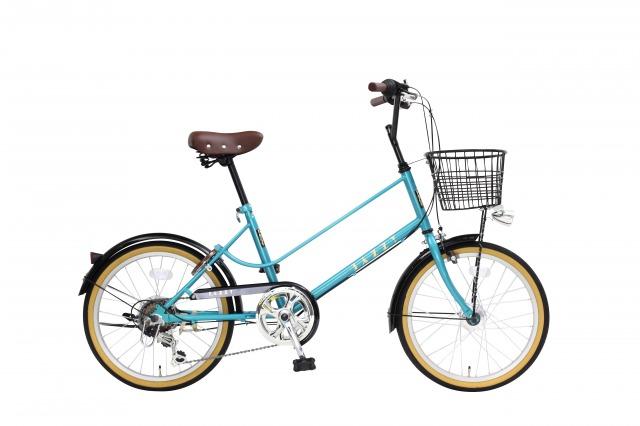 【送料無料】JAZZY 20インチ 小径自転車 外装6段変速 カゴ・カギ・オートライト付き グリーン シティサイクル 小径車 YMV206HD-77-GR【代引不可】