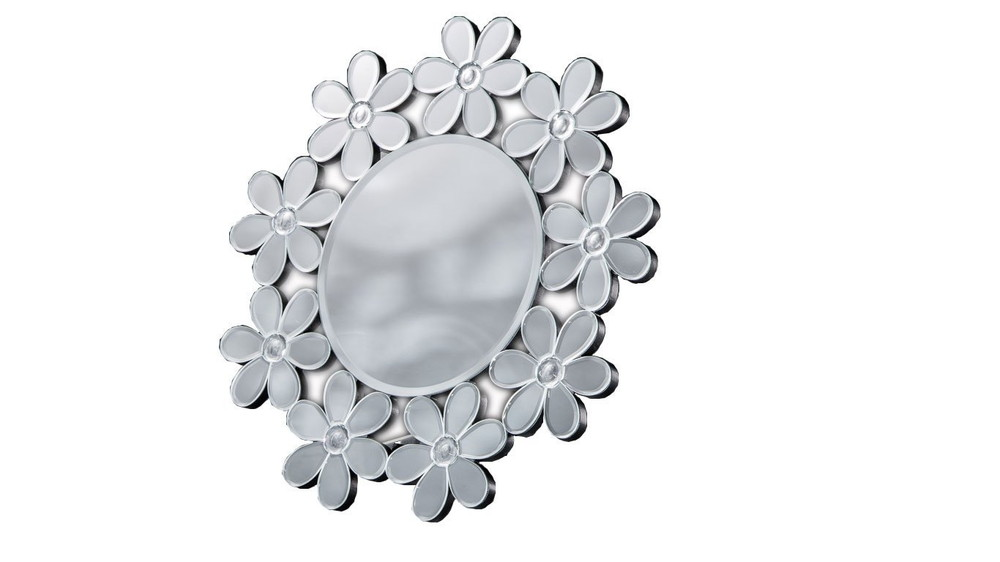 【送料無料】クロシオ 丸型ミラー 卓上・壁掛け フラワー 83004【代引不可】