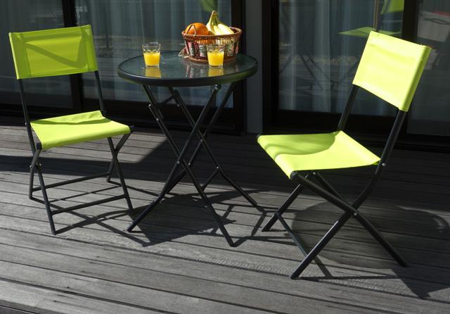 折りたたみガーデンテーブルセット 3点セット(ガラステーブル+ガーデンチェア2脚) チェアライトグリーン【代引不可】