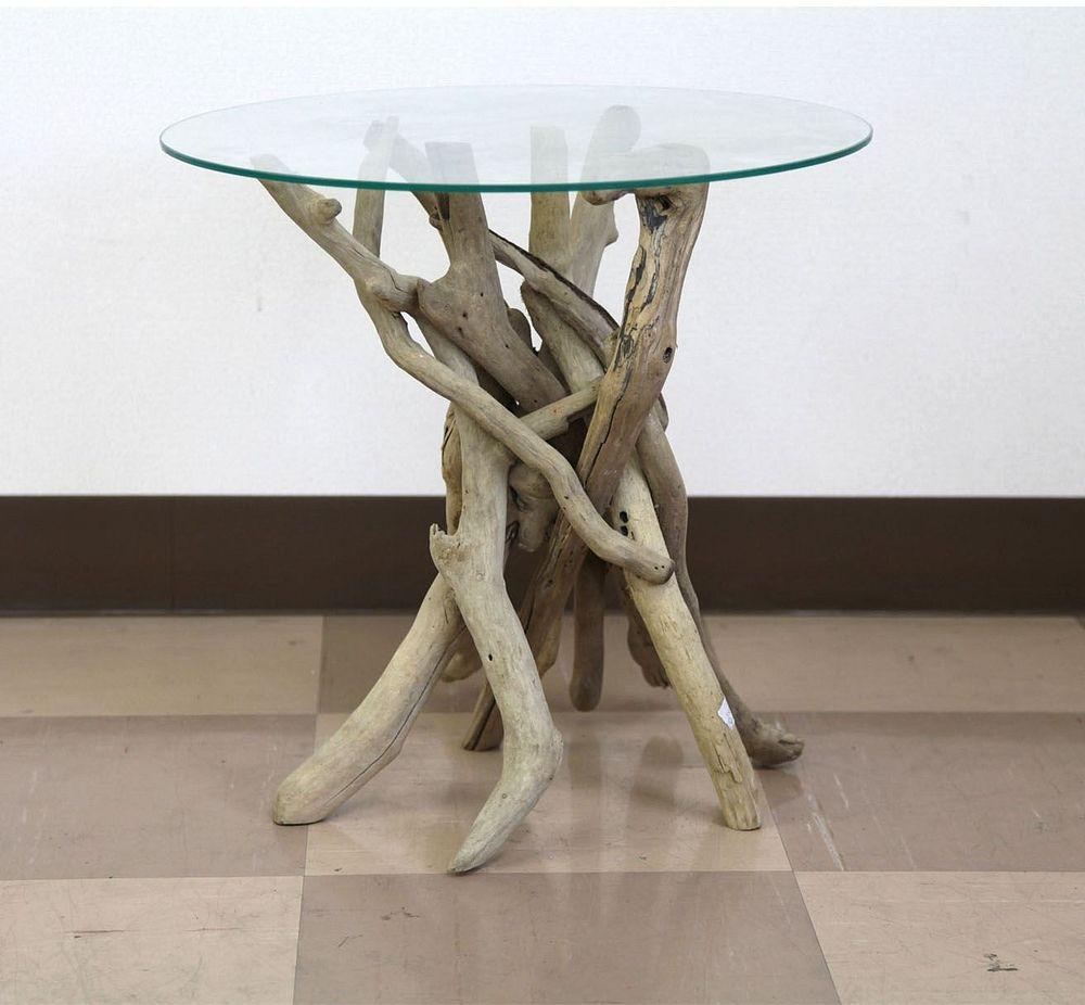 【送料無料】ジャービス商事 流木 ルートガラステーブル L 99999AD03 リビングテーブル ダイニングテーブル【代引不可】