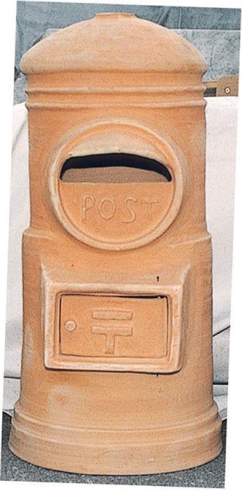 【送料無料】ジャービス商事 素焼ポスト 丸型H900 茶色 09007 スタンドポスト 郵便ポスト【代引不可】