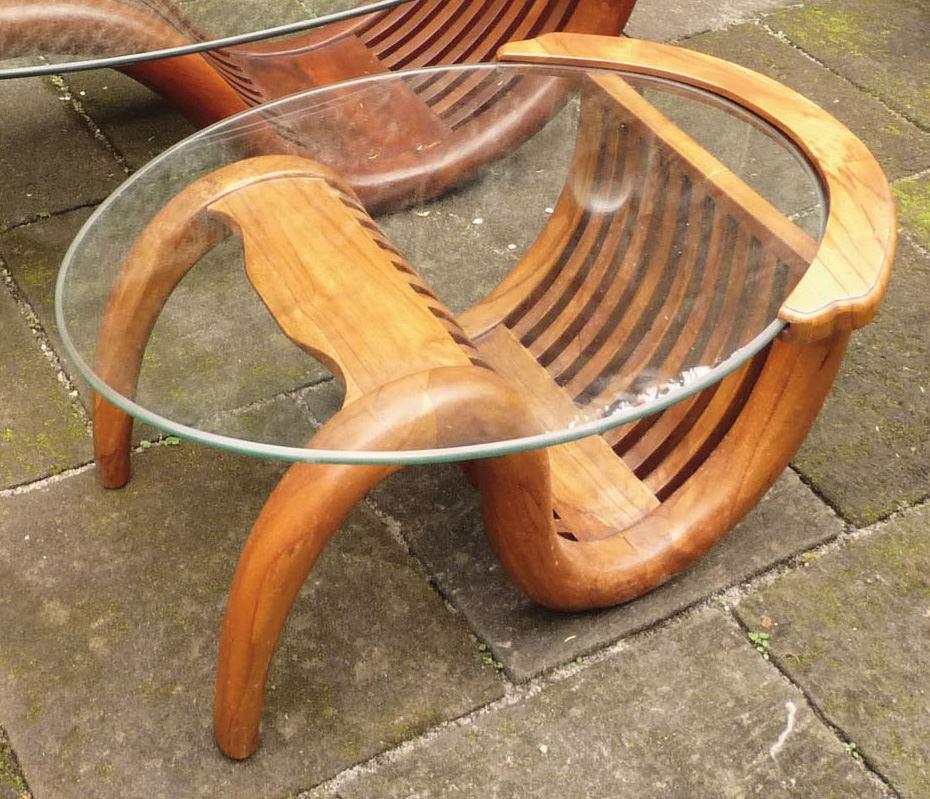 【送料無料】ジャービス商事 天然木無垢材 ミニチークガラステーブル(塗装品) 36322 木製 リビングテーブル【代引不可】