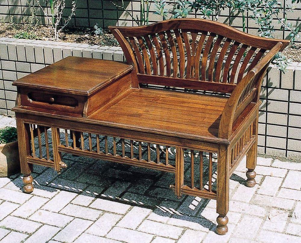 【送料無料】ジャービス商事 天然木無垢材 サイドテーブル付チェア 70059 ベンチ 木製 アンティーク調【代引不可】