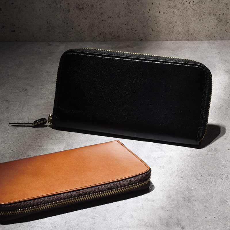 【送料無料】【ギフト】手塗りオイルレザー ラウンド長財布 ブラック TA45-01【代引不可】