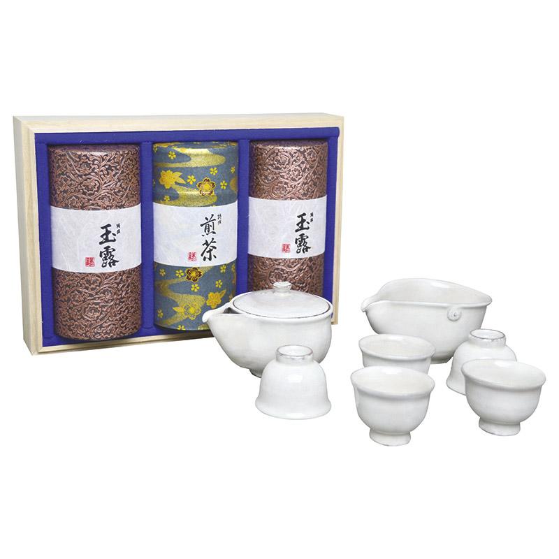 【送料無料】【ギフト】清水焼茶器と宇治茶セット 白 MK5-502【代引不可】