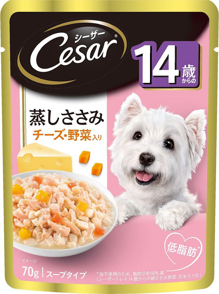 (まとめ買い)シーザー CEP13 14歳からの 蒸しささみ チーズ・野菜入り 70g 犬用 ドッグフード 〔×40〕【代引不可】
