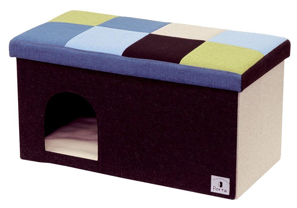 ペティオ Porta ドッグハウス&スツール ブルーモザイク ワイド 【代引不可】【北海道・沖縄・離島配送不可】