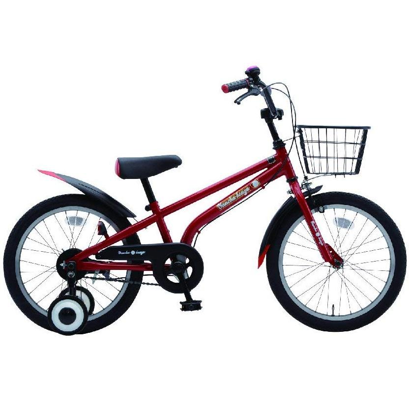 【送料無料】美和商事 18インチ 幼児車 子供用自転車 やんちゃ坊主18 フラッシュレッド カゴ・フェンダー付属 完成車 YB180BKND-RD【代引不