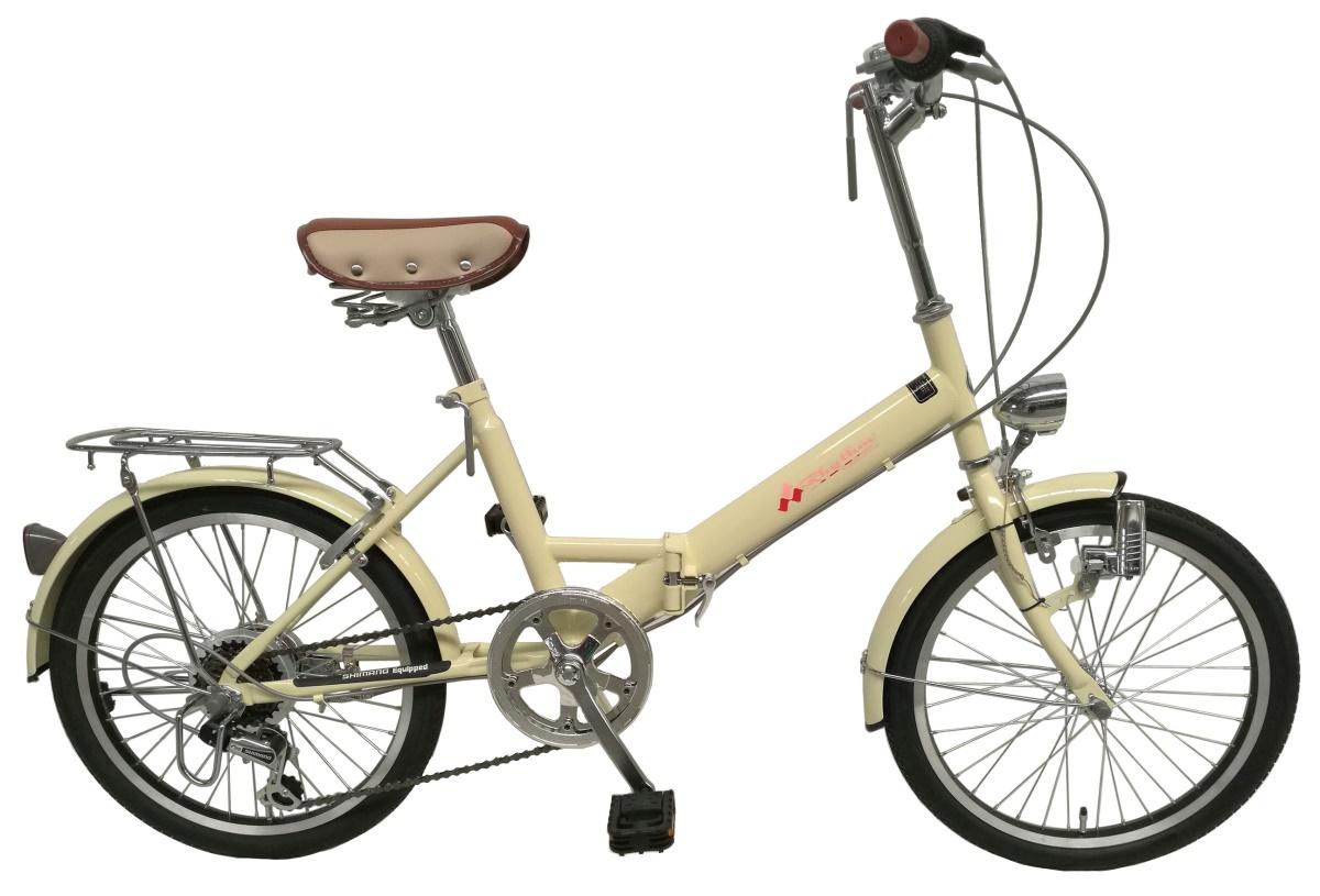 【送料無料】【特価、格安♪】美和商事 リズム(RHYTHM) 20インチ 折りたたみ自転車 シマノ6段変速 RH206CPBD アイボリー【代引不可】