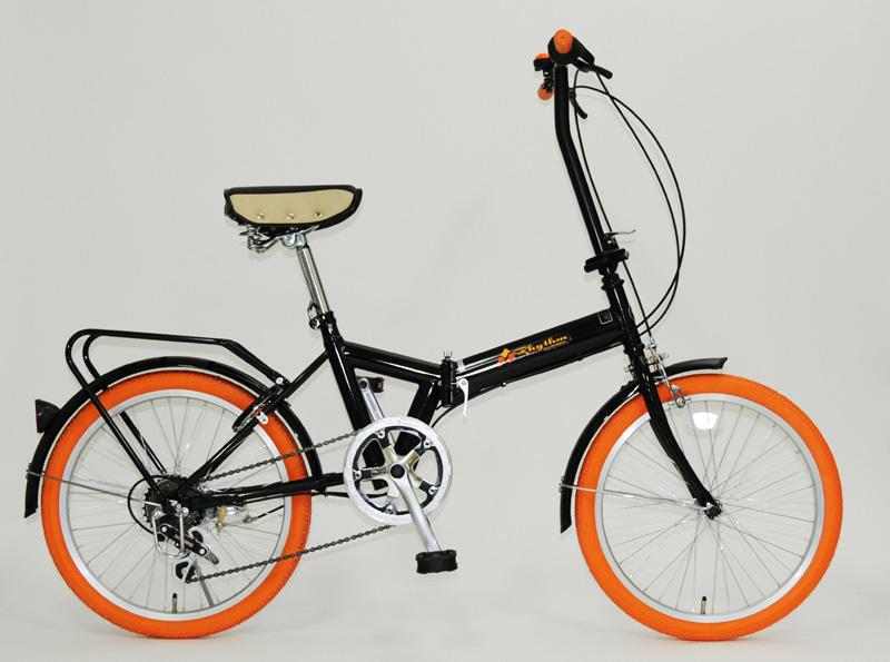 【送料無料】Rhythm(リズム) 20インチ 折りたたみ自転車 6段変速 リング錠付 FD1B-206 OR(オレンジ)【代引不可】