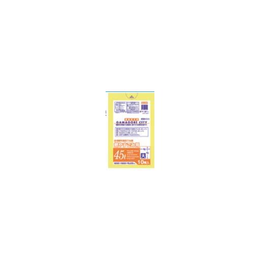 【送料無料】蒲郡市 可燃大45L厚口10枚入半透明黄 GJ45 〔まとめ買い(40袋×5ケース)合計200袋セット〕 38-599【代引不可】