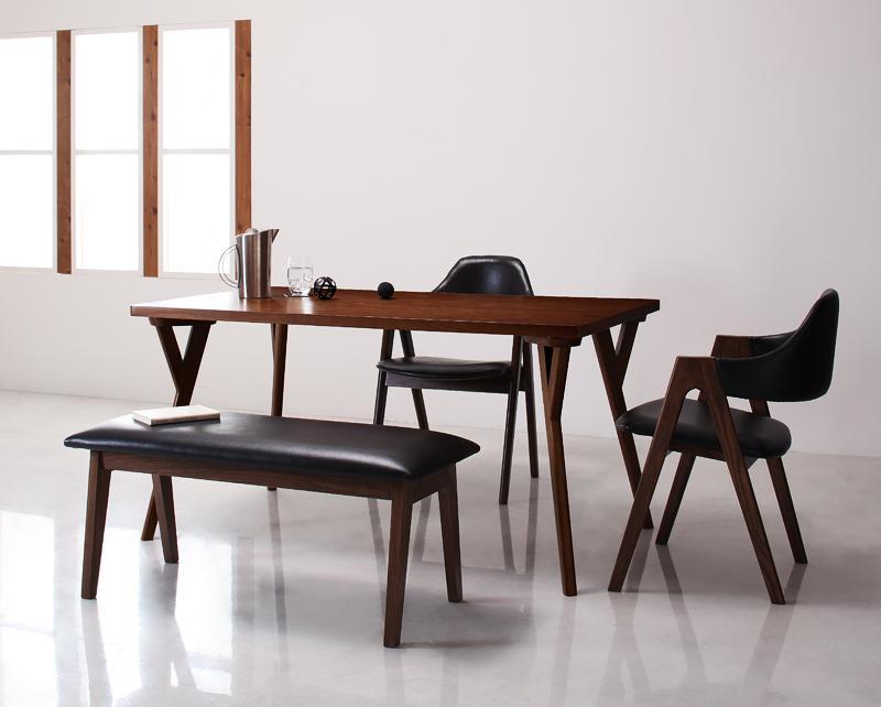 北欧モダンデザインダイニング〔VILLON〕ヴィヨン 4点セット(テーブルW140+チェア×2+ベンチ) 〔チェア〕ホワイト×〔ベンチ〕ブラック【代引不可】