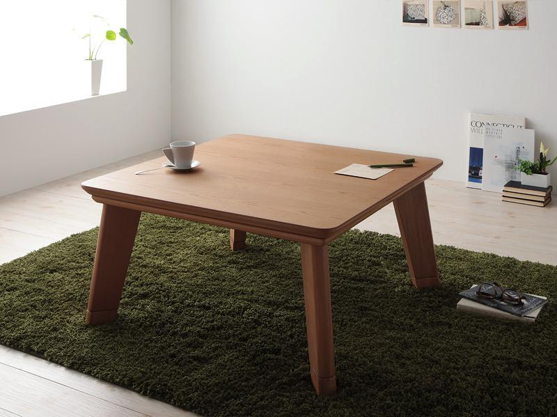 【送料無料】モダンデザインフラットヒーターこたつテーブル〔Valeri〕ヴァレーリ 正方形(80×80) ウォールナットブラウン【代引不可】