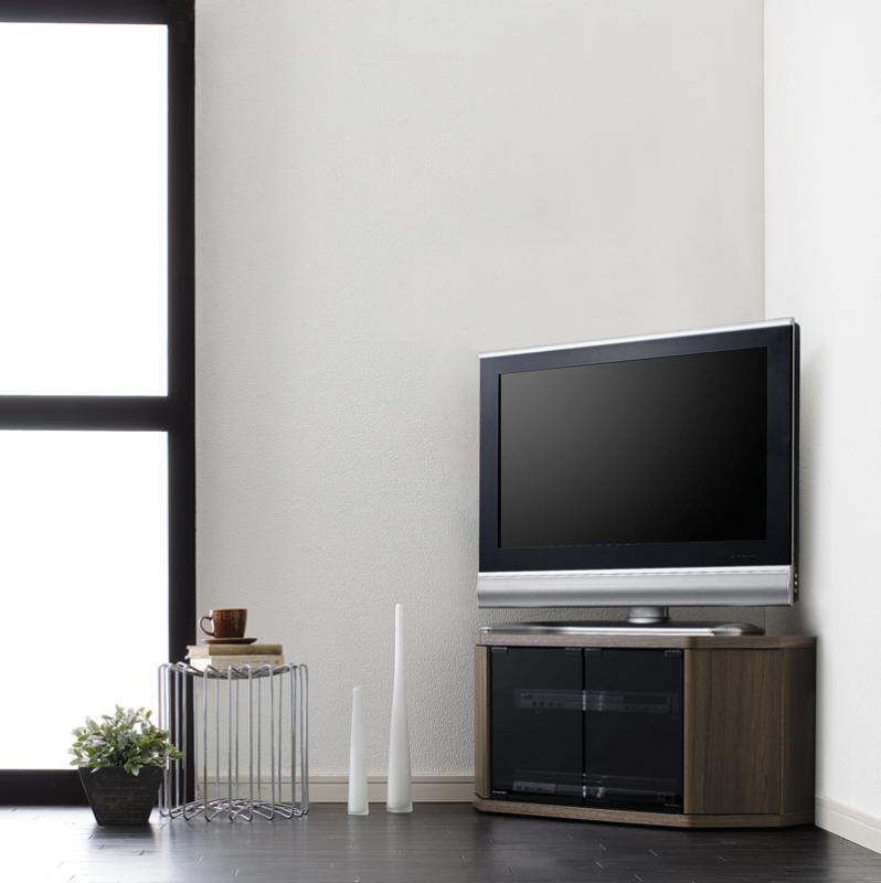 【送料無料】薄型コーナーロータイプテレビボード〔Venus〕ベヌス スモールタイプ ウォールナットブラウン【代引不可】