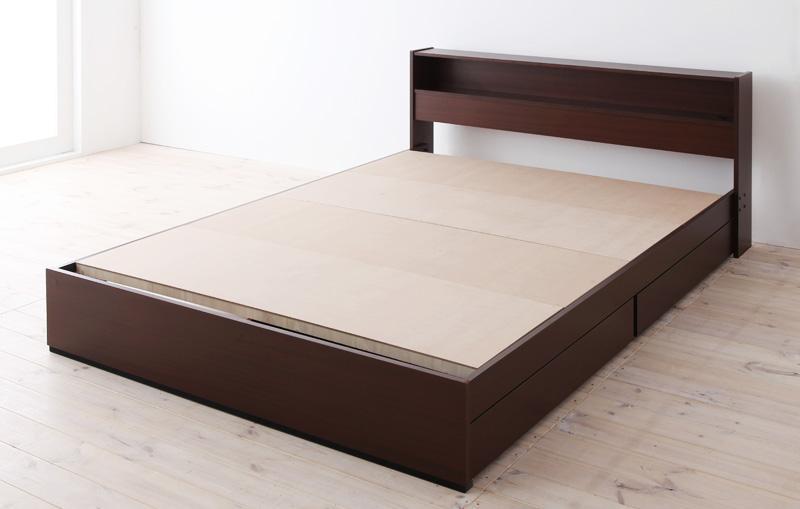 棚・コンセント付き収納ベッド〔Sign〕サイン 〔フレームのみ・マットレスなし〕 セミダブル ダークブラウン【代引不可】【北海道・沖縄・離島配送不可】