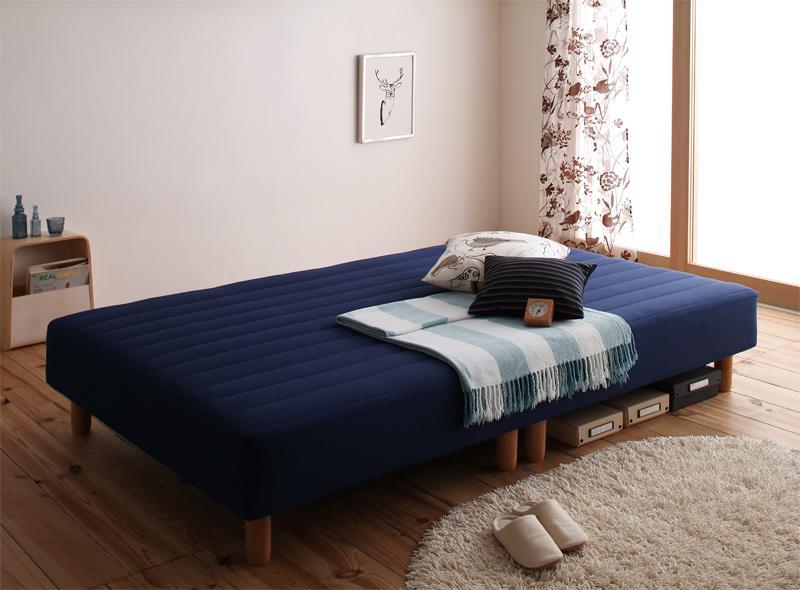 【送料無料】新・色・寝心地が選べる!20色カバーリング国産ポケットコイルマットレスベッド 脚15cm シングル ミッドナイトブルー【代引不可】