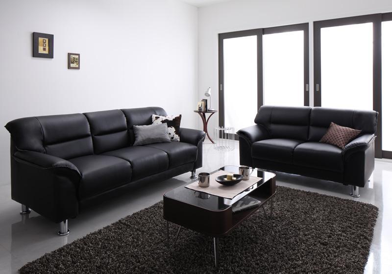 【送料無料】シンプルモダンソファ 〔BLACK〕ブラック ソファ 2点セット(2Pサイズ+3Pサイズ) ブラック【代引不可】