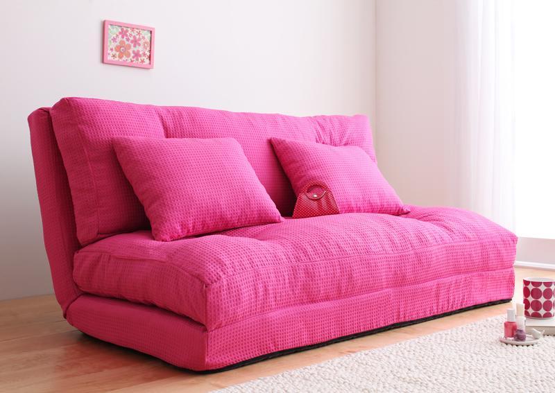 幅120cm ピンク 【送料無料】コンパクトフロアリクライニングソファベッド 〔happy〕ハッピー 幅120cm ピンク【代引不可】