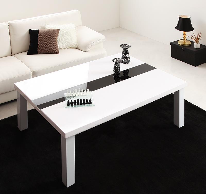【送料無料】鏡面仕上げ アーバンモダンデザインこたつテーブル 〔VADIT〕バディット 4尺長方形(80×120cm) ラスターホワイト【代引不可】
