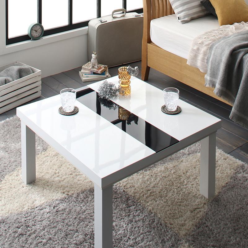 鏡面仕上げ アーバンモダンデザインこたつテーブル 〔VADIT〕バディット 正方形(75×75cm) ラスターホワイト【代引不可】