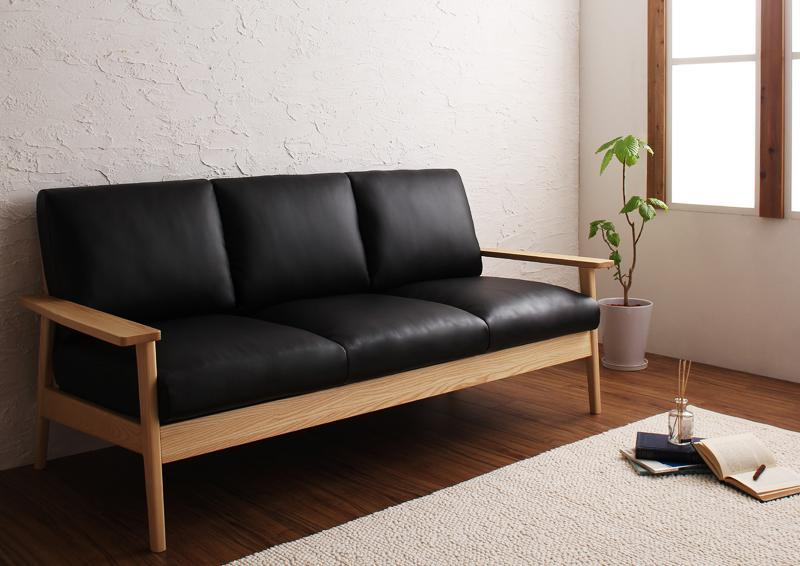 【送料無料】天然木シンプルデザイン木肘ソファ〔MUKU-natural〕ムク・ナチュラル 3人掛け 3P ブラック【代引不可】