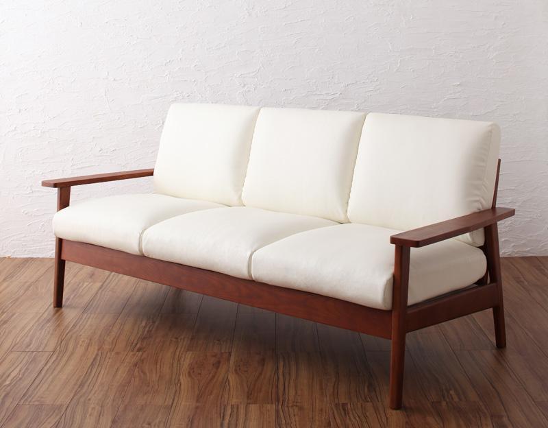 【送料無料】天然木シンプルデザイン木肘ソファ〔MUKU-brown〕ムク・ブラウン 3人掛け 3P ブラウン【代引不可】