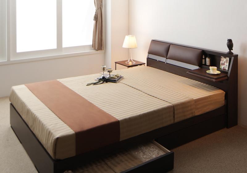 【送料無料】クッション・フラップテーブル付き収納ベッド 〔Relassy〕リラシー 〔ボンネルコイルマットレス〕 ダブル ダークブラウン【代引不可】