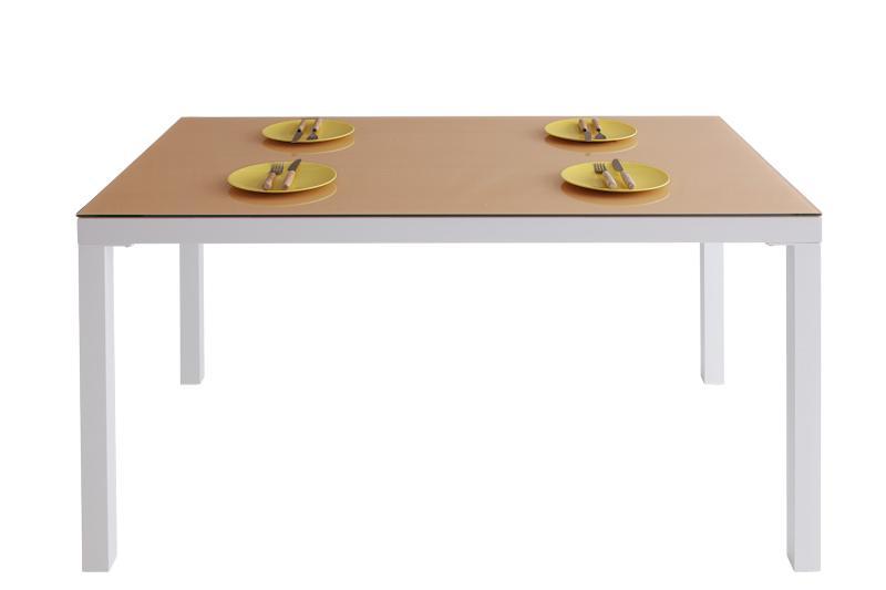 【送料無料】ウッドxガラスダイニング〔Saltaire〕ソルテア テーブル(W135)のみ単品販売 ナチュラル【代引不可】