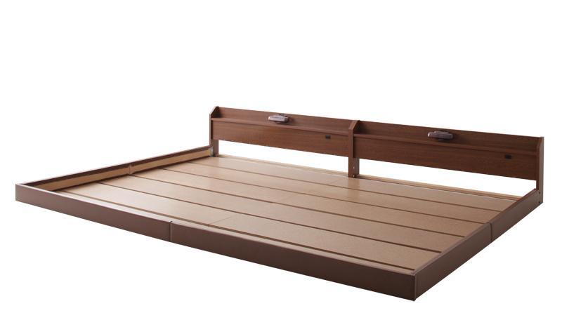 【送料無料】親子で寝られる棚・照明付き連結ベッド〔JointJoy〕ジョイント・ジョイ〔ボンネルコイルマットレス付き〕セミシングル ブラウン【代引不可】