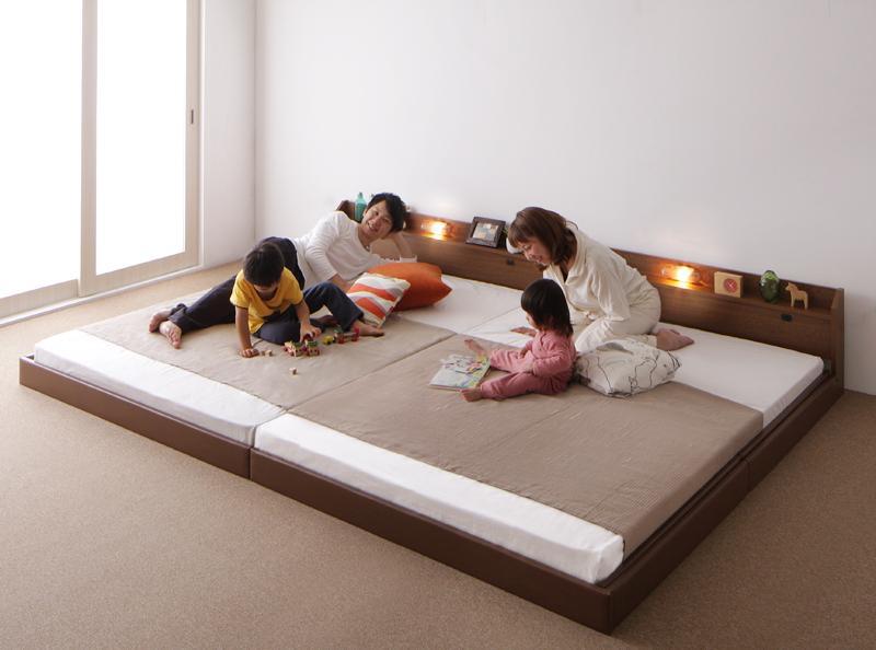 【送料無料】親子で寝られる棚・照明付き連結ベッド〔JointJoy〕ジョイント・ジョイ〔日本製ポケットコイルマットレス付き〕ワイドK210 ブラウン【代引不可】