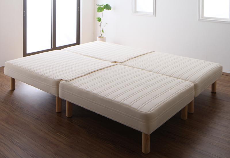 【送料無料】日本製ポケットコイルマットレスベッド〔MORE〕モア スプリットタイプ 脚22cm クイーン【代引不可】