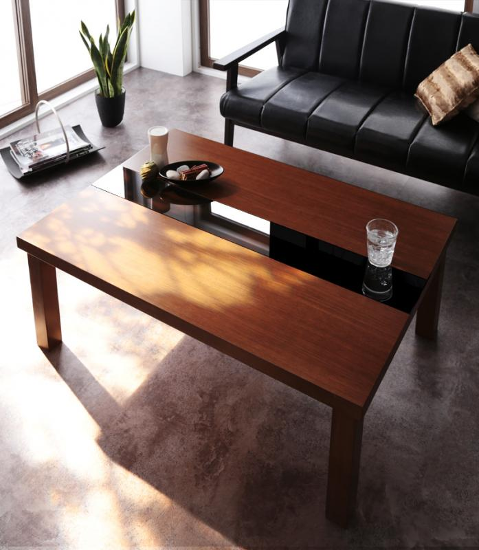 【送料無料】アーバンモダンデザインこたつテーブル〔Brent Wood〕ブレントウッド/長方形(105×75) ウォルナットブラウン【代引不可】