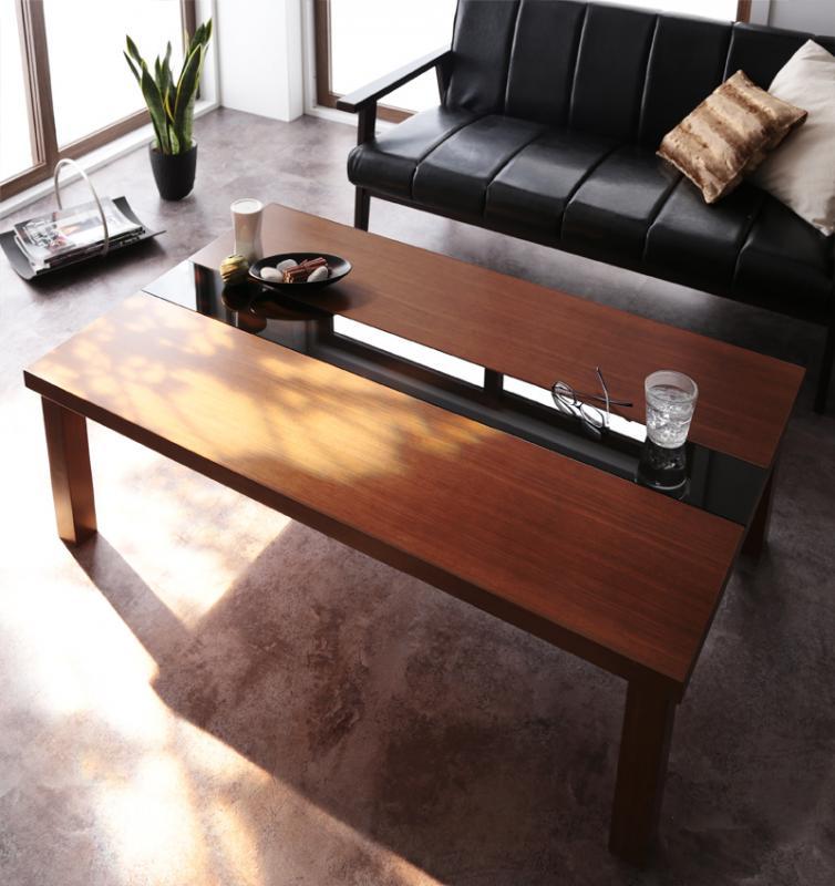 【送料無料】アーバンモダンデザインこたつテーブル〔Brent Wood〕ブレントウッド/長方形(120×80) ウォルナットブラウン【代引不可】