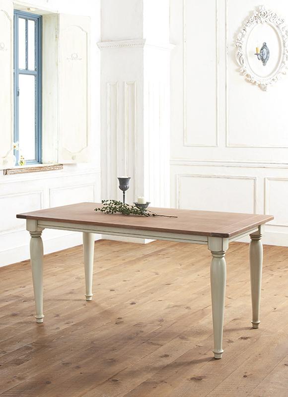 【送料無料】フレンチシック シャビーデザインダイニング〔cynar〕チナール/テーブル(W150)のみ単品販売 ダイニングテーブル【代引不可】