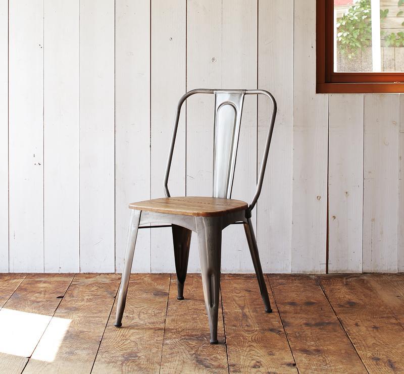【送料無料】西海岸テイストヴィンテージデザインダイニング家具シリーズ〔Ricordo〕リコルド スチールフレームチェアのみ単品販売(2脚組)【代引不可】