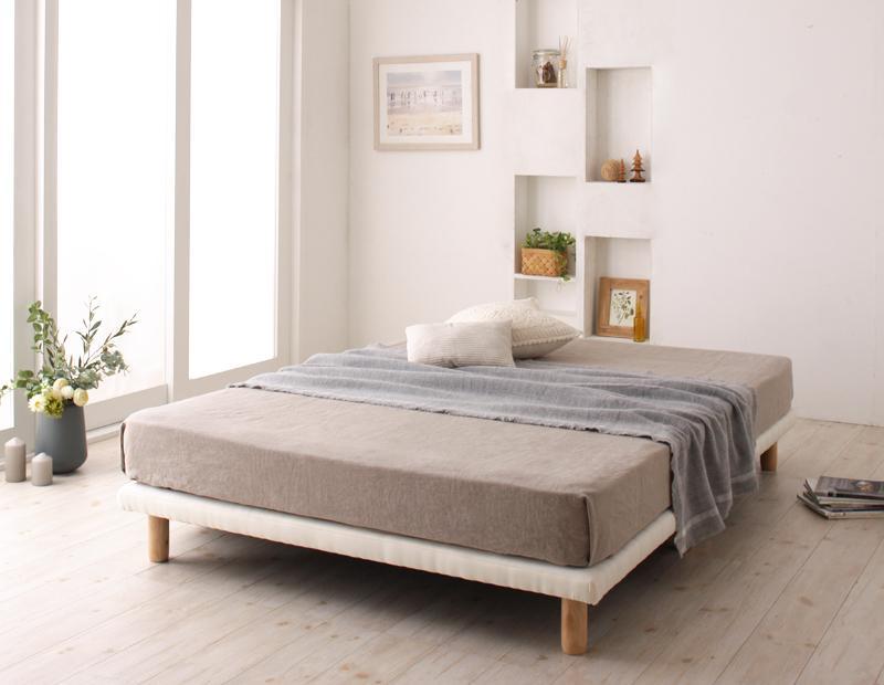 搬入・組立・簡単!選べる7つの寝心地!すのこ構造 脚付きマットレス ボトムベッド 〔プレミアム ボンネルコイルマットレス付き〕 クイーン 〔マットレス色〕ホワイト【代引不可】