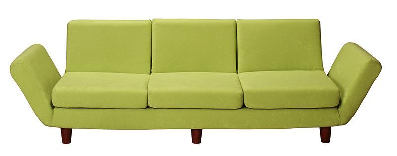【送料無料】座椅子と分割できる 省スペース リクライニングカウチソファ 〔Mars〕マーシュ 3人掛け単品(3Pサイズ) ブルー【代引不可】