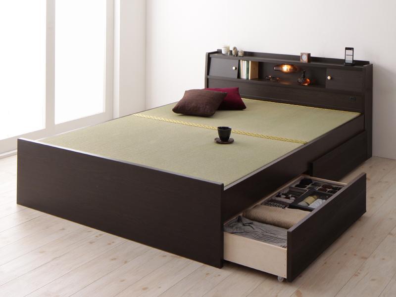 【送料無料】高さが変えられる棚・照明・コンセント付き 畳ベッド 〔泰然〕たいぜん 〔フレームのみ〕 セミダブル 引出し2杯付き 〔フレーム色〕ブラウン【代引不可】