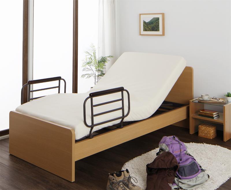 【送料無料】シンプル電動ベッド 〔ラクティータ〕 〔ウレタンマットレス付き〕 1モーター 〔フレーム色〕ダークブラウン 電動リクライニング【代引不可】