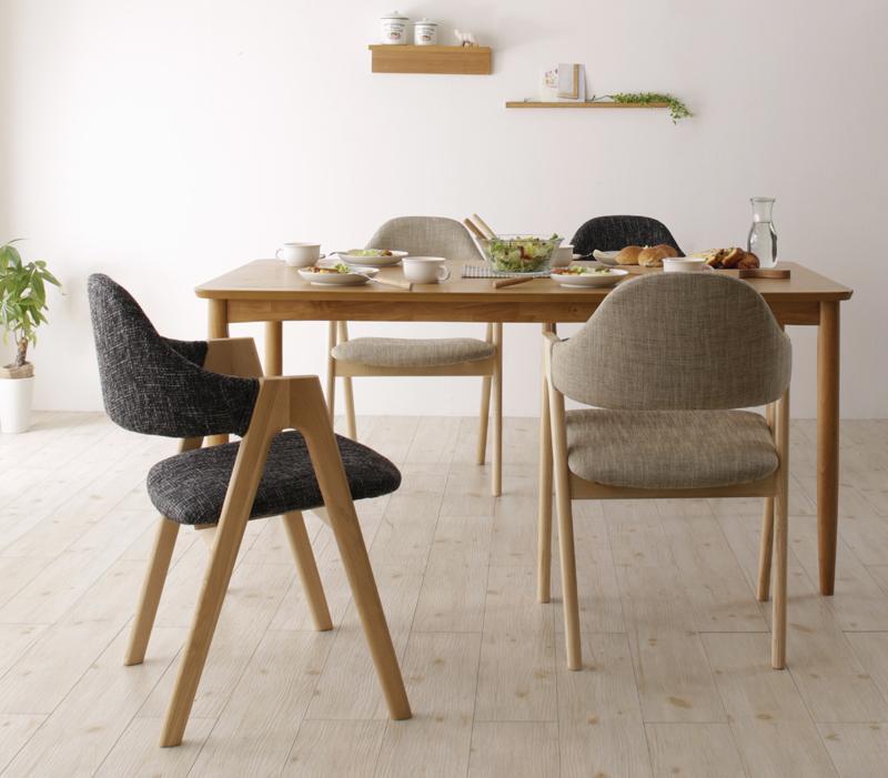 【送料無料】天然木 北欧ナチュラルデザイン ダイニング 〔Tiffin〕ティフィン 5点セット(テーブル+チェア×4) 〔チェア色〕サンドベージュ ダイニングセット【代引不可】