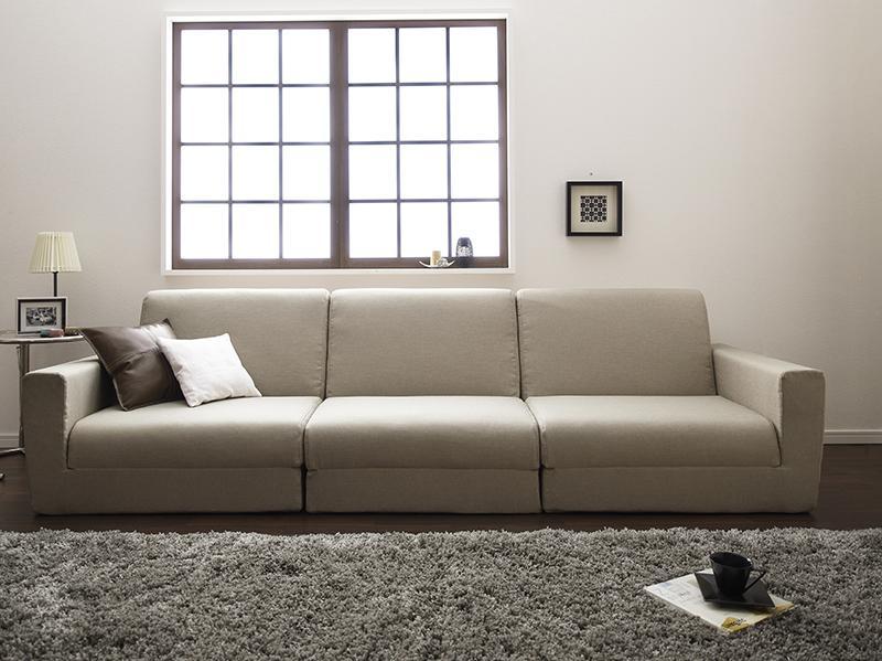 【送料無料】ポケットコイルで快適快眠ゆったり寝られるデザインソファベッド 〔Ceuta〕セウタ 幅270cm ベージュ【代引不可】